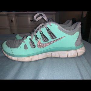 Tiffany blue Nike Free 5.0 crystal shoes